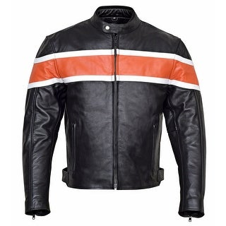 Men's Classic Leather Motorcycle Jacket CE Body Armor MBJ001