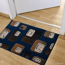 """Allstar Navy Doormat Accent Rug Woven High Quality High Density Double Shot Drop-Stitch Carving (2' 0"""" x 3' 3"""")"""