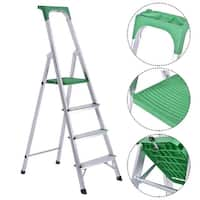 Costway Non-slip 4 Step Ladder Aluminum Folding Work Stool Platform 330Lbs Load Capacity