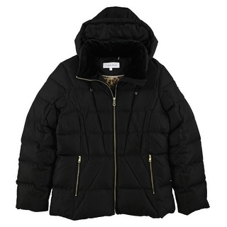 Link to Calvin Klein Womens Solid Quilted Jacket, black, Large Similar Items in Women's Outerwear