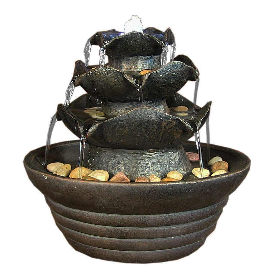 Sunnydaze Three Tier Cascading Tabletop Fountain w/ LED Lights - Options Available - Thumbnail 2