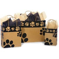 """Pack Of 125, Assortment Paw Print Recycled Kraft Shopping Bags 50 Rose (5.5"""" x 3.25"""" x 8-3/8""""), 50 Cub & 25 Vogue"""