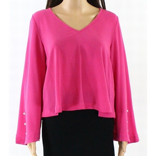 d8c4c913 Shop Abound NEW Pink Womens Size Small S Crepe V-Neck Pearl-Button Blouse -  On Sale - Free Shipping On Orders Over $45 - Overstock.com - 20981854