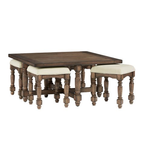 Square Cocktail Table w/ 4 Uph Stools