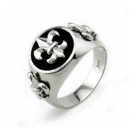 Sterling Silver Men's Fleur De Lis Ring