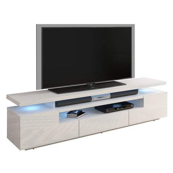 Strick & Bolton Sparkes 77-inch High Gloss TV Stand with LED Lights