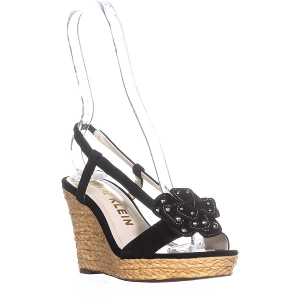 Anne Klein Marigold Suede Wedge Sandals, Black Suede - 6.5 us