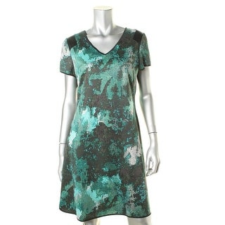 Marc New York Womens Printed Faux Leather Trim Wear to Work Dress - 10