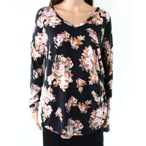 Moa Moa Women's Black Size Large L Floral Print V-Neck Knit Top