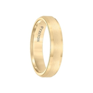 GOLDIE Polished Beveled Edged Yellow Gold Plated Womens Tungsten Satin Finished Wedding Band by Triton Rings - 5mm