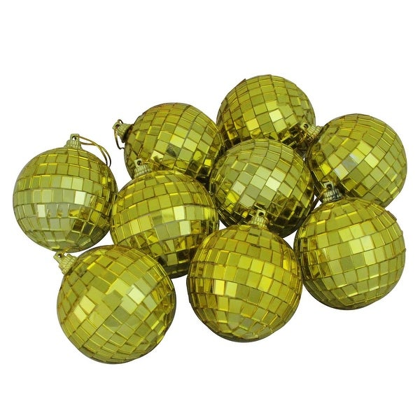 "9ct Gold Mirrored Glass Disco Ball Christmas Ornaments 2.5"" (60mm)"