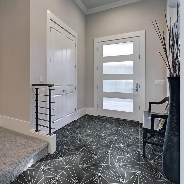 SomerTile 8.625x9.875-inch Madama Hex Nero Porcelain Floor and Wall Tile (25 tiles/11.56 sqft.). Opens flyout.