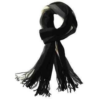 Men's 100% Fine Acrylic Striped Knit Long Stylish Scarf, Black Grey White