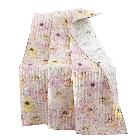 Sava 60 Inch Fabric Throw Blanket with Floral Pattern, Pink