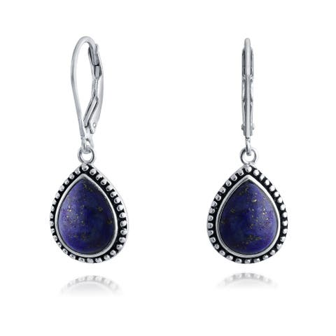 Bali Gemstones Milgrain Frame Teardrop Earrings 925 Sterling Silver