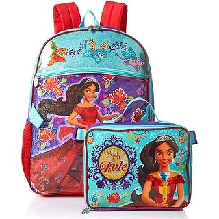 Disney Elena of Avalor Backpack with Detachable Lunch Kit, Aqua-Purple, 16x12.5x4.5 Inches