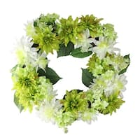 "22"" Decorative Cream White and Green Artificial Floral Dahlia and Hydrangea Wreath - Unlit"