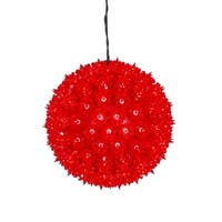 "10"" Red Lighted Hanging Star Sphere Christmas Decoration"