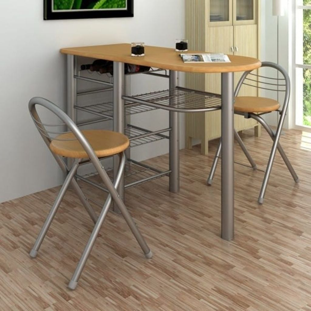 Vidaxl Kitchen Breakfast Bar Table And Chairs Set Wood Overstock 18964911