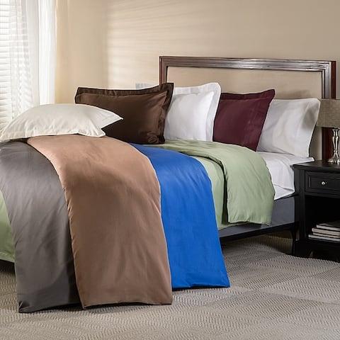 Miranda Haus 600-Thread Count Cotton Solid Hemstitch Duvet Cover Set