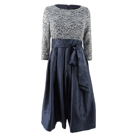 e6042499e2a Jessica Howard Women s Sequined Lace A-Line Dress - Steel