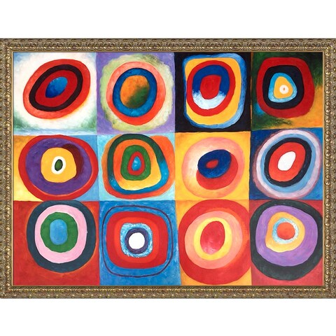 Wassily Kandinsky 'Farbstudie Quadrate' (Color Study of Squares) Hand Painted Oil Reproduction