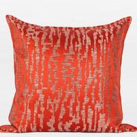 "G Home Collection Luxury Tangerine Nonobjective Pattern Jacquard Pillow 22""X22"""