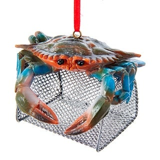 Blue Crab on Top of Wire Cage Christmas Holiday Ornament