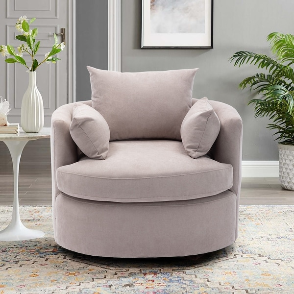 Linen Upholstered Swivel Barrel Accent Chair with Pillows. Opens flyout.