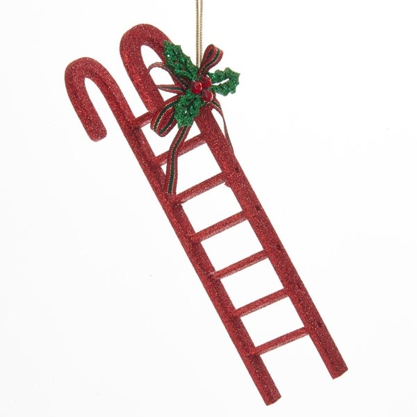 "8.5"" Red Glittered Candy Cane Ladder with Holly Accent Hanging Christmas Ornament"