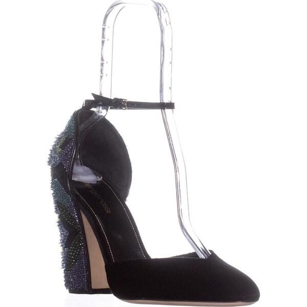 Segio Rosi A76630 Ankle Strap Block Heel Sandals, Black