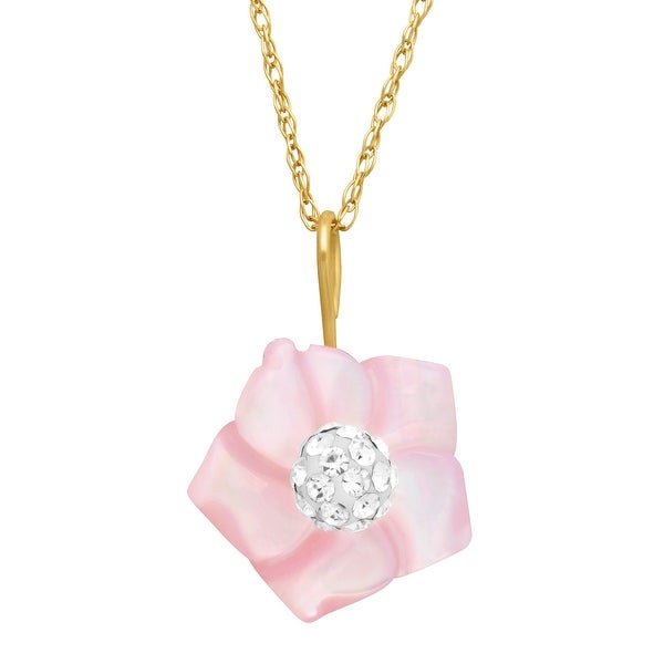 Pink Natural Mother-of-Pearl Flower Pendant with Swarovski elements Crystal in 14K Gold