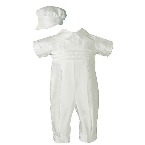 Baby Boys Ivory Silk Pleated Pants Pin Tuck Hat Christening Coverall
