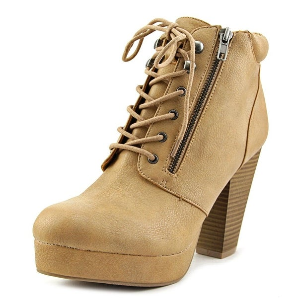 Material Girl Rheta Women Round Toe Synthetic Tan Ankle Boot