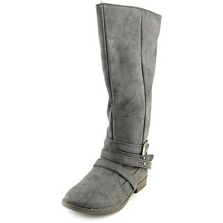 Qupid Vance Women Round Toe Leather Knee High Boot