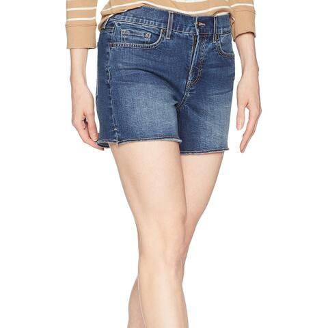 NYDJ Zimbali Blue Womens Size 6 Five Pocket Fray Hem Denim Shorts
