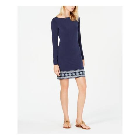 MICHAEL KORS Navy Long Sleeve Above The Knee Shift Dress Size XL