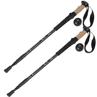 Costway Generic Pair 2 Trekking Walking Hiking Sticks Poles Alpenstock Adjustable Anti-Shock - Black
