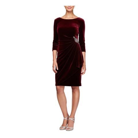 ALEX EVENINGS Burgundy 3/4 Sleeve Knee Length Sheath Dress Size 16W