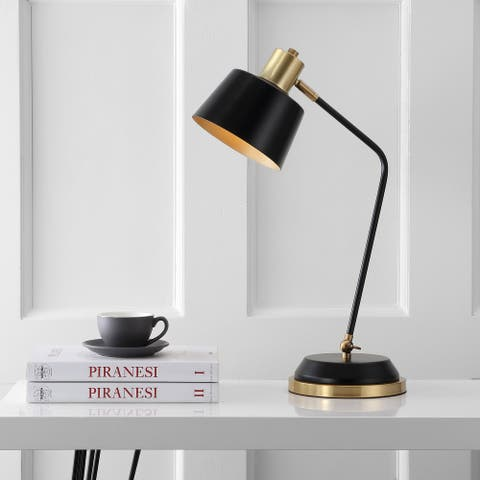 "Rochelle 23"" Metal LED Task Lamp, Black/Brass Gold by JONATHAN Y"