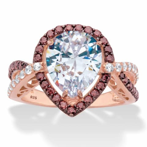 Gold over Silver Choclate Cubic Zirconia Engagement Ring (4 3/8 cttw)