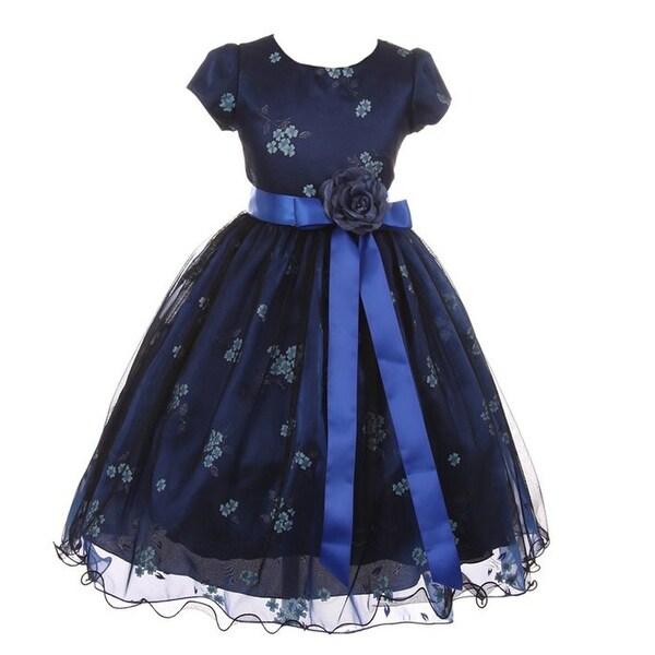 1f3644b099d7 Shop Kiki Kids Girls Blue Black Mesh Organza Flower Christmas Dress - Free  Shipping On Orders Over $45 - Overstock - 18258388