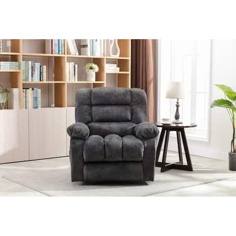 Soft Fabric Recliner Chair Modern Rocker with Heated Massage (Gray)