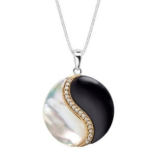 Onyx and Mother-of-Pearl Yin Yang Pendant with 1/10 ct Diamonds in Sterling Silver and 14K Gold - White