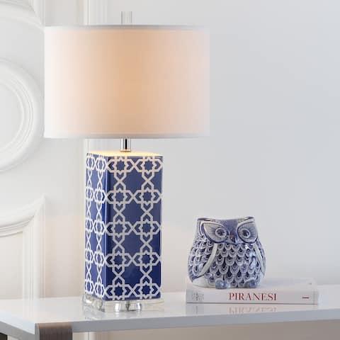 "Safavieh Lighting 27-inch Navy Quatrefoil Table Lamp (Set of 2) - 15""x15""x27"""