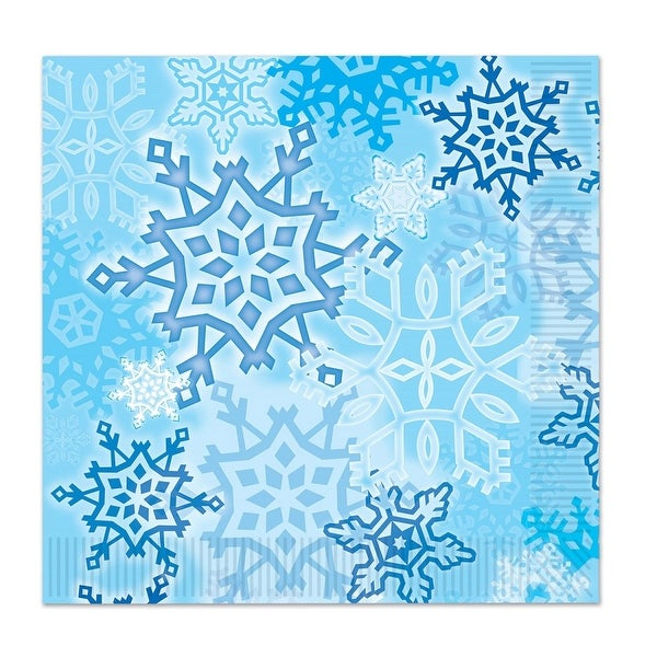 """Club Pack of 192 Snow White and Blue Snowflake Christmas Disposable Luncheon 2-Ply Napkins 6.5"""""""