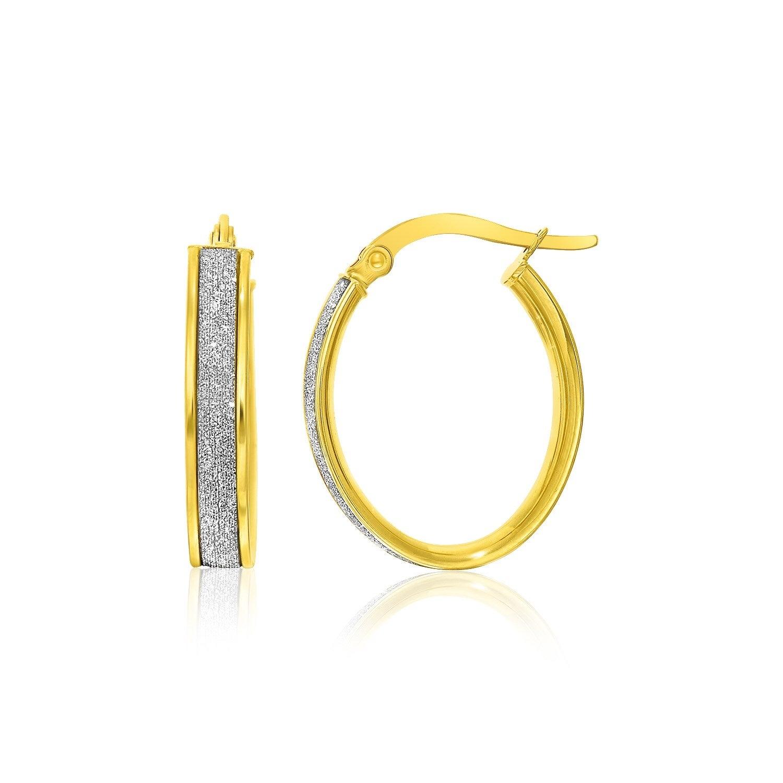 14k Two Tone Gold Sparkle Center Finish Hoop Earrings