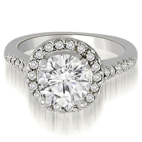 1.05 cttw. 14K White Gold Halo Round Cut Diamond Engagement Ring