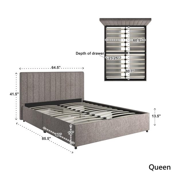 Arlert Grey Linen Storage Platform Bed with Channel Headboard by iNSPIRE Q Modern