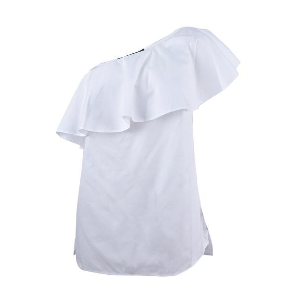 fa6c45325bb Shop Lauren Ralph Lauren Women's Ruffled One-Shoulder Poplin Top - White -  On Sale - Free Shipping On Orders Over $45 - Overstock - 23612965